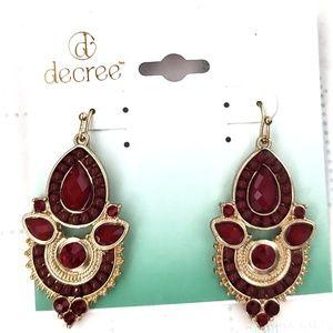 DECREE Burgundy Earings Jewelry Accessories